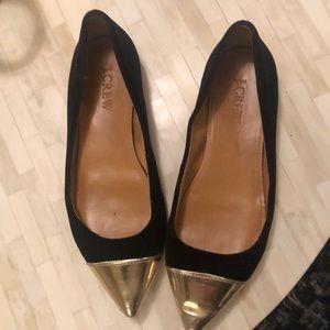 Jcrew suede black pointy toe flats